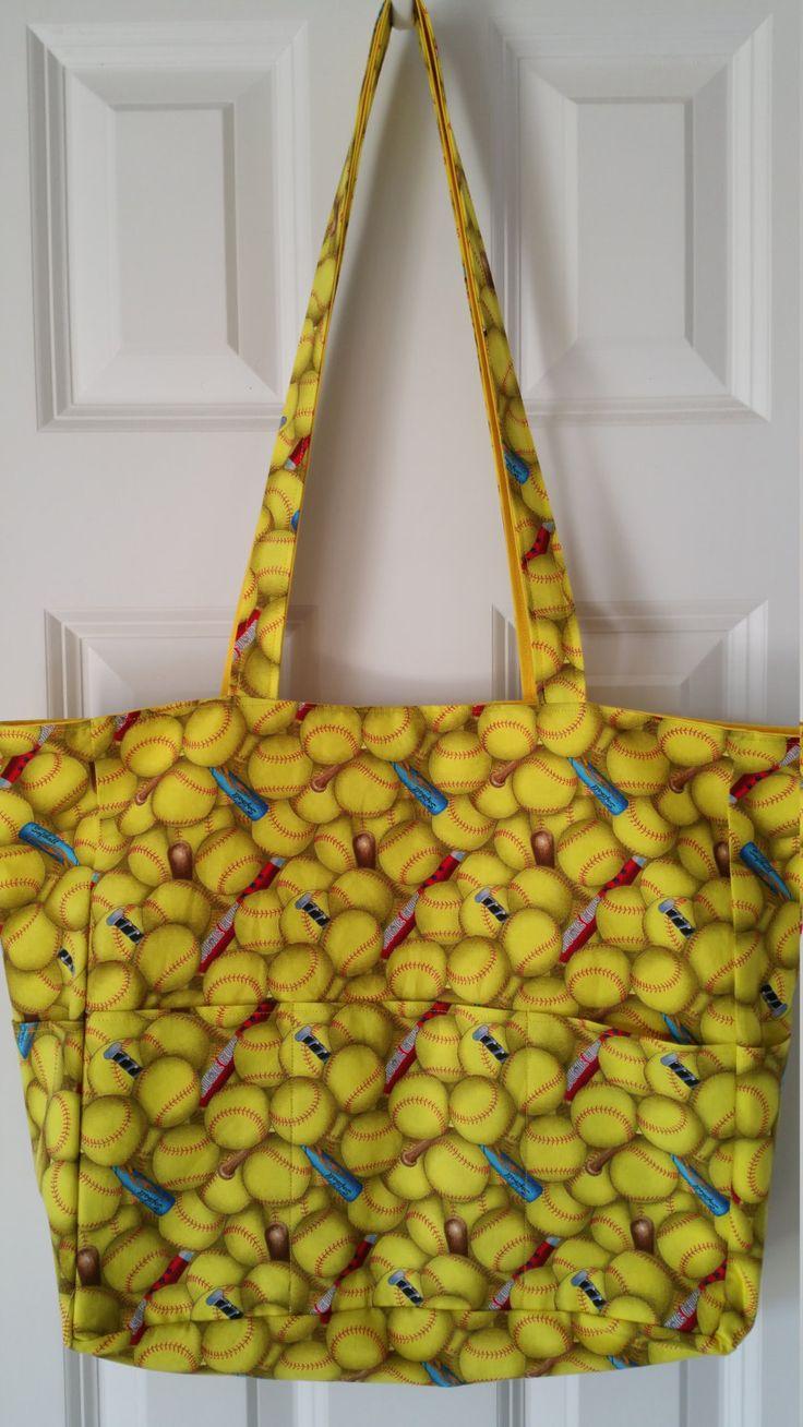 Softball Fabric Multi Purpose Tote Bag Bags, Tote bag