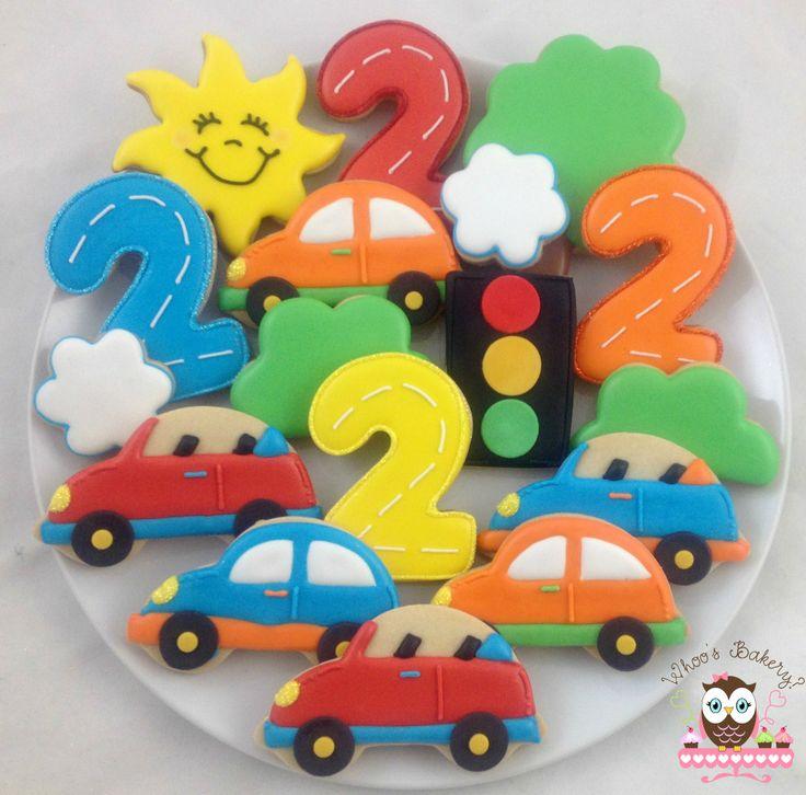 Car cookies, car party, traffic light cookies, sun cookies, tree cookies, car scene cookies, number cookies
