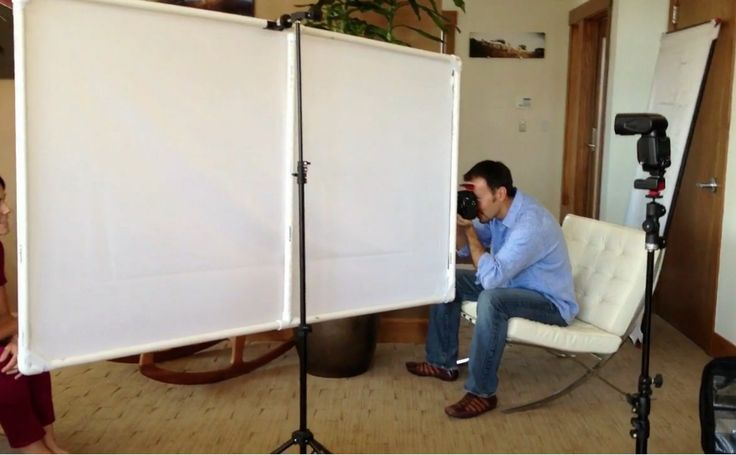 My KevPanel D.I.Y. light diffuser in use. Putting it horizontal makes for a great single-light portrait. See the video for more info and the resulting shot.