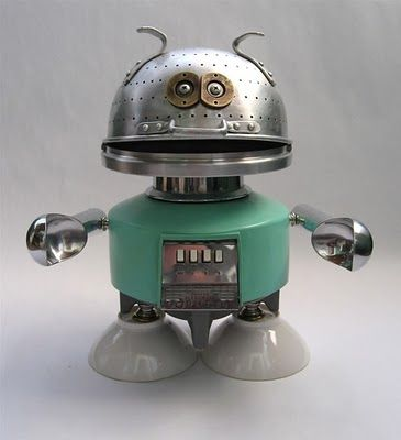 American artist Brian Marshall (aka Adoptabot) makes his sculptures from junk and vintage appliances.