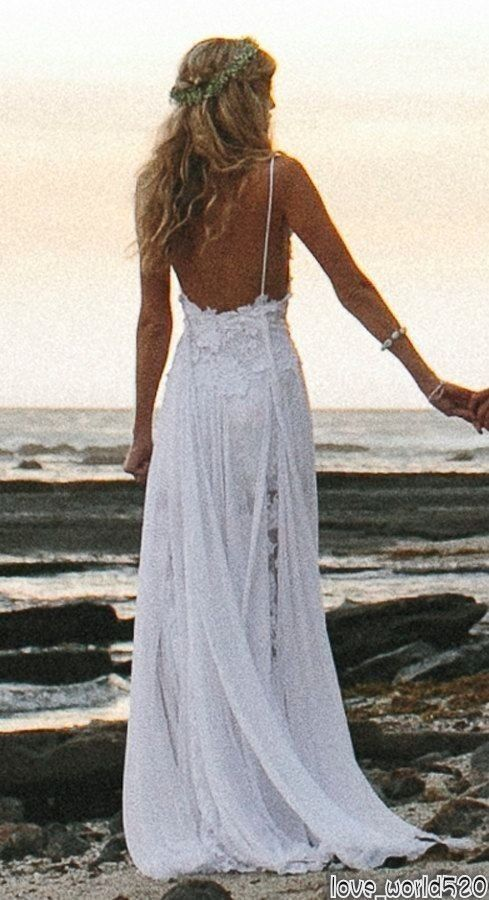 Sexy Fancy Beach Wedding Dress Spaghetti Backless White Ivory Lace Bridal Gown+