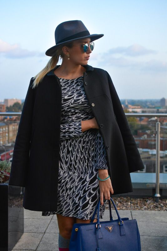 Fashion week 2014 Style. Prada Bag with Marc Cain dress and Tara Jarmon Coat.