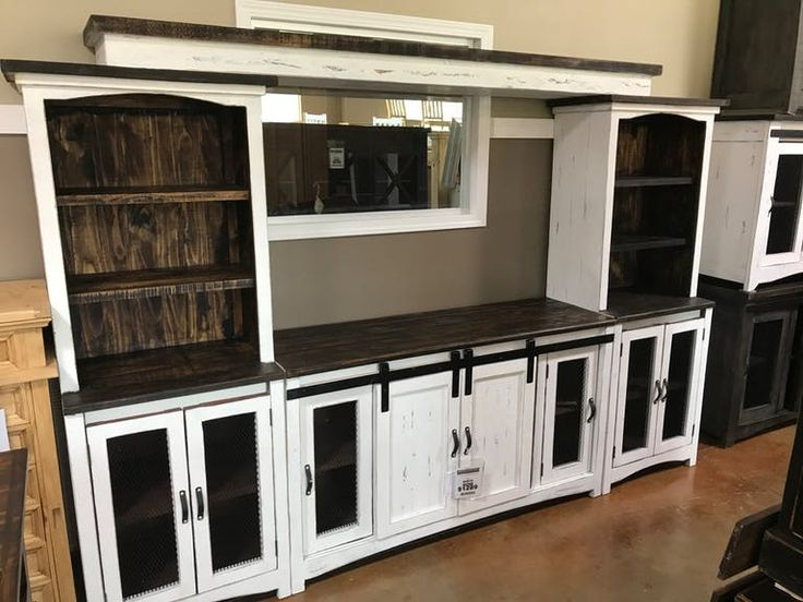 Antique White 4 Pc Entertainment Center with Barn Doors