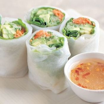 Rich, nutty avocado is a great carrier of flavors, like the fresh herbs and cooling cucumber that star in these fresh rice-paper rolls. The savory dipping sauce features tart, sweet and salty ingredients that mimic an exotic salad dressing—fitting, as the