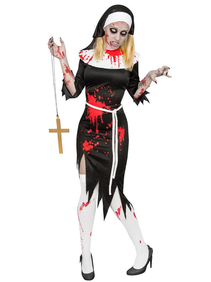 Zombie-Nonne Halloween-Damenkostüm schwarz-weiss-rot. Aus der Kategorie Halloween Kostüme / Halloween Kostüme Damen. Ob diese Zombie-Nonne in ihrem vorigen Leben wohl wirklich ohne Sünde war? Wir werden es wohl nicht mehr erfahren. Was wir aber sicher sagen können, dass die Untote nun einem ganz anderen Herren dient - und zwar einzig ihrem Hunger!