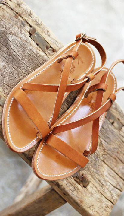 Cognac Leather Sandals
