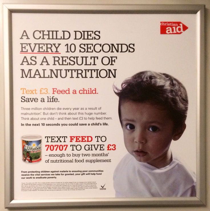 Here is another ad we spotted on the 24th February 2014 for Christian Aid. It calls for £3 donations by text in order to help them feed malnourished children in developing countries. #charity #advert #christianaid