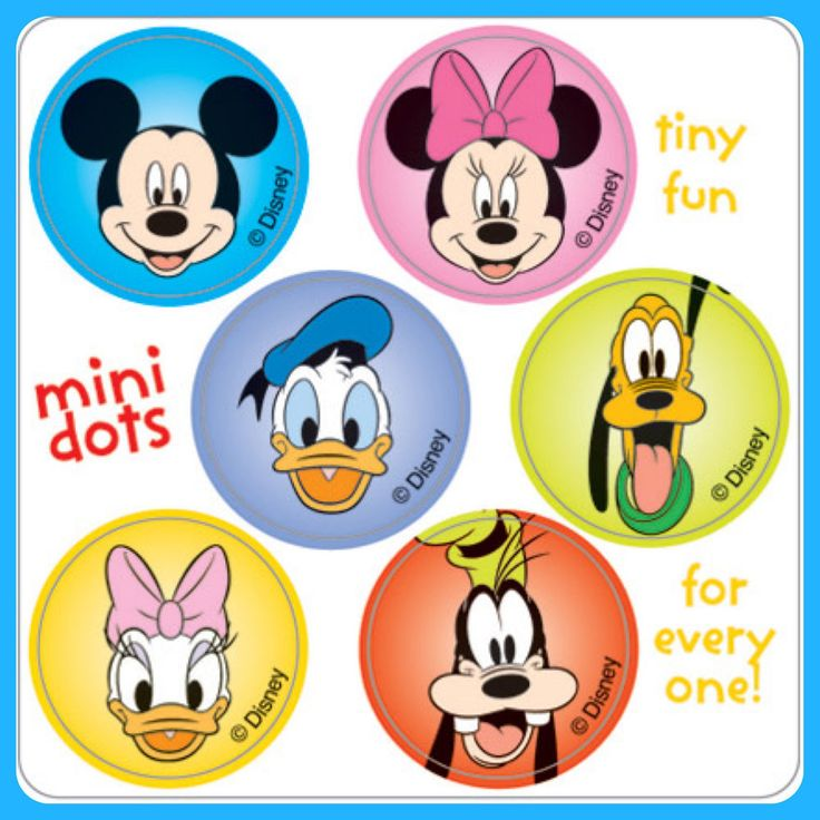 Mickey Mouse Stickers - 48 Dots - 8 Sheets - Reward Charts Party Favours Seals