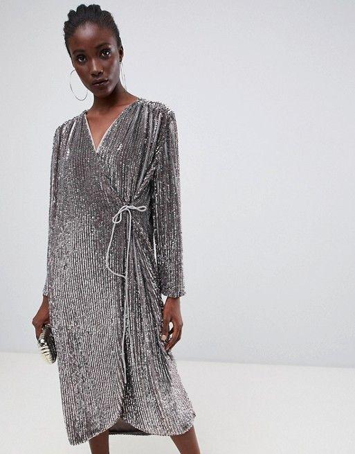 67ba53ce24f23 EDITION oversized sequin wrap dress in 2019 | va va voom | Dresses, Asos,  Latest dress