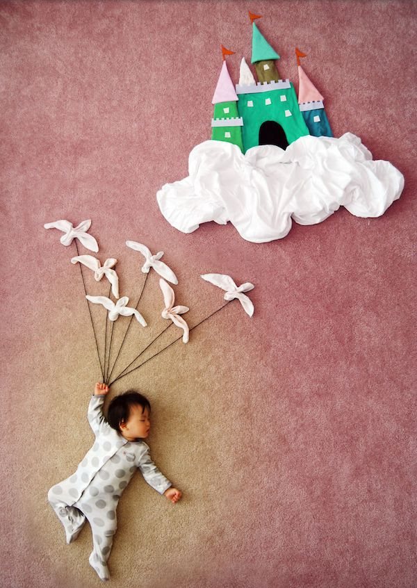 Sleeping baby and her fairy tale castle