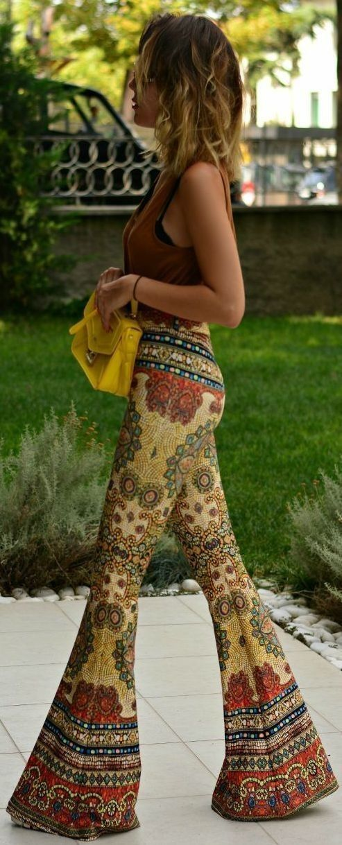 fall, colors, amazing, print, flare, pants, boho, chic