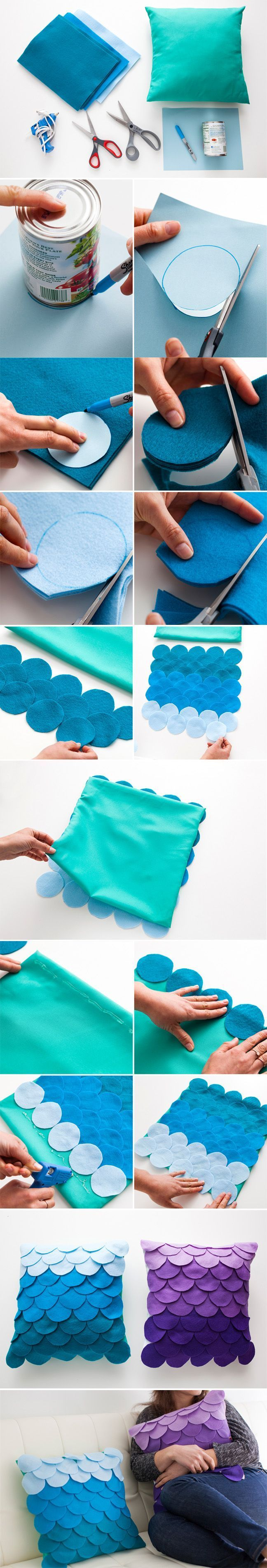 Awesome scalloped ombre DIY pillow made of felt circles. Love it!