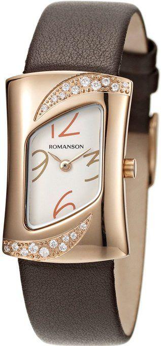 Romanson Women's RL0388QL1RA16R Swiss Quartz Watch with Crystal Accented Bezel