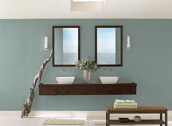 Sleek And Simple Blue Bathroom Benjamin Moore Stars And Paint Colors
