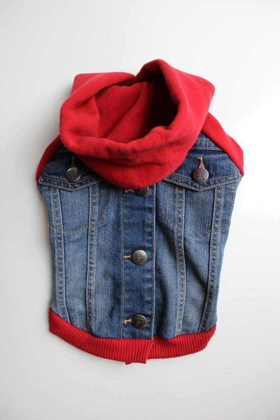Upcycled S Denim Dog Jacket with Red Sweatshirt by PupCycleCanada