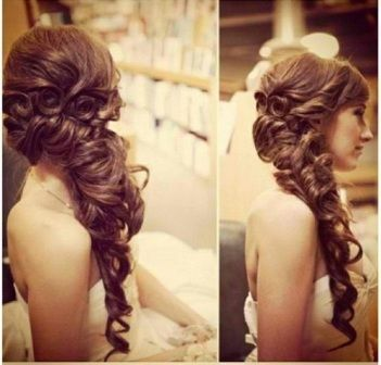 Coiled Curled Bridal Half Up Half Down Hairstyle