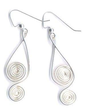 Wire earrings - look like treble clefs