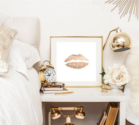Items similar to Faux Rose gold lips print - rose gold print - canvas wraps - feminine decor - white decor on Etsy
