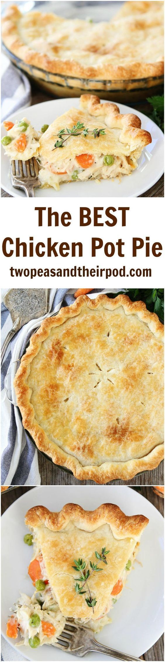 The BEST Chicken Pot Pie Recipe on http://twopeasandtheirpod.com This comforting chicken pot pie is easy to make and it freezes well too! It is a family favorite meal!