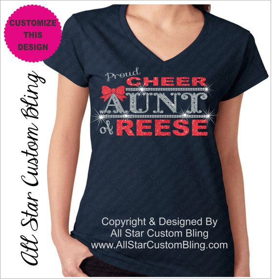 Custom Proud Cheer Aunt Bling Rhinestone Shirt, Cheer Aunt Bling Shirts, Bling Cheer Aunt Shirts, Custom Aunt Cheer Bling Shirt