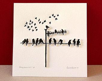 Stampa Linoleografia di linoleum nero uccello di uccelli - opere d'arte originali - stampa
