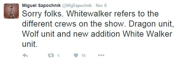 Sapochnik later clarified that the note about White Walkers on the clapperboard actually referred to crew units, not plotlines