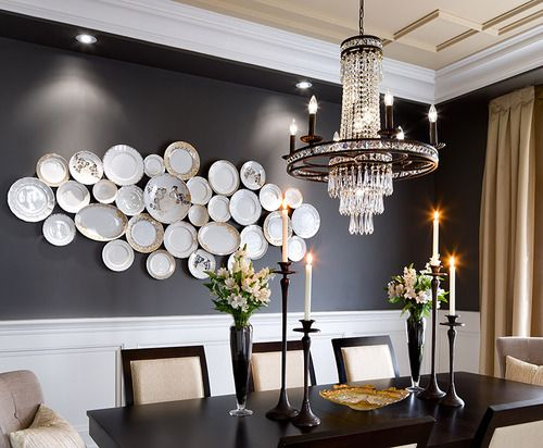 Love the dark walls and plates