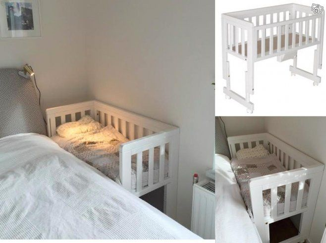 Vit sidosäng / spjälsäng Troll Bedside Crib | Stockholm