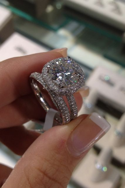 "Harry Winston Inspired ""The ONE"" Micro Pave halo and band with a 3ct + center diamond www.diamonddirectbuy.com"