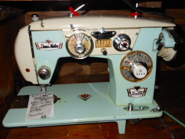 Blue and white Vintage Sewing Machine