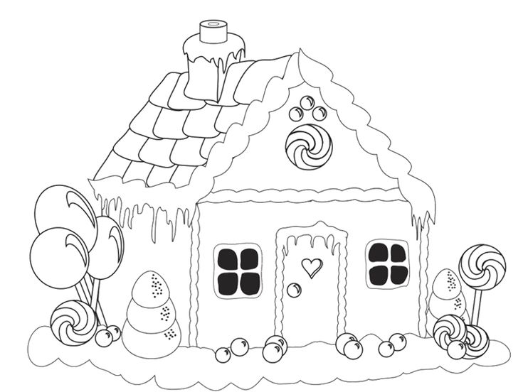 Beautiful Gingerbread House Coloring Page Hand