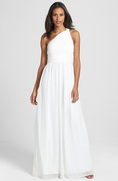 $230, Donna Morgan Rachel Ruched One Shoulder Chiffon Gown. Sold by Nordstrom. Click for more info: https://lookastic.com/women/shop_items/133456/redirect