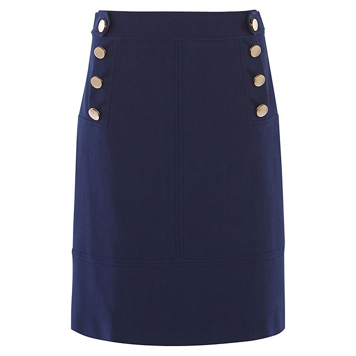 Buy Karen Millen Button Detail A-Line Skirt, Blue, 6 Online at johnlewis.com