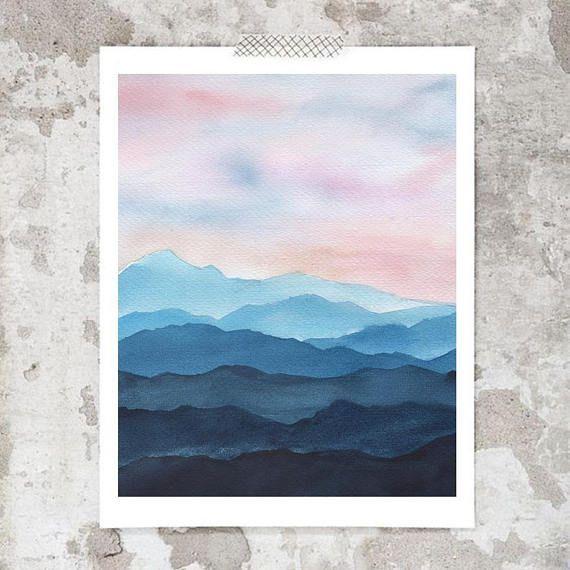 Mountains Watercolor Art Print Fine Art Prints Modern Art Print