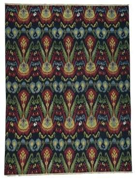 World Menagerie One-of-a-Kind Piccirillo Ikat Soumak Double Weft Oriental Hand-Knotted Black Area Rug World Menagerie