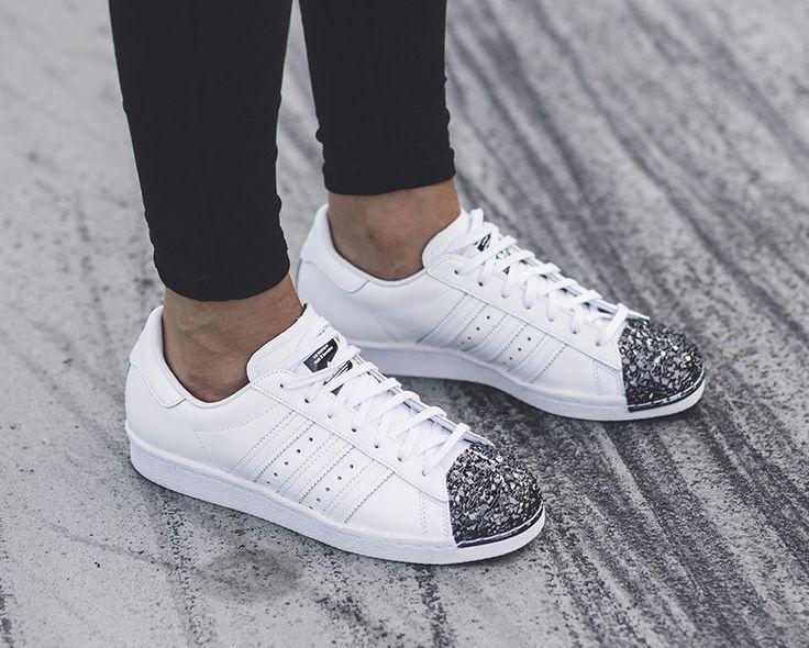 adidas superstar white black glitter