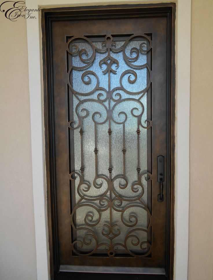Custom wrought iron front door single doors pinterest for Wrought iron front doors