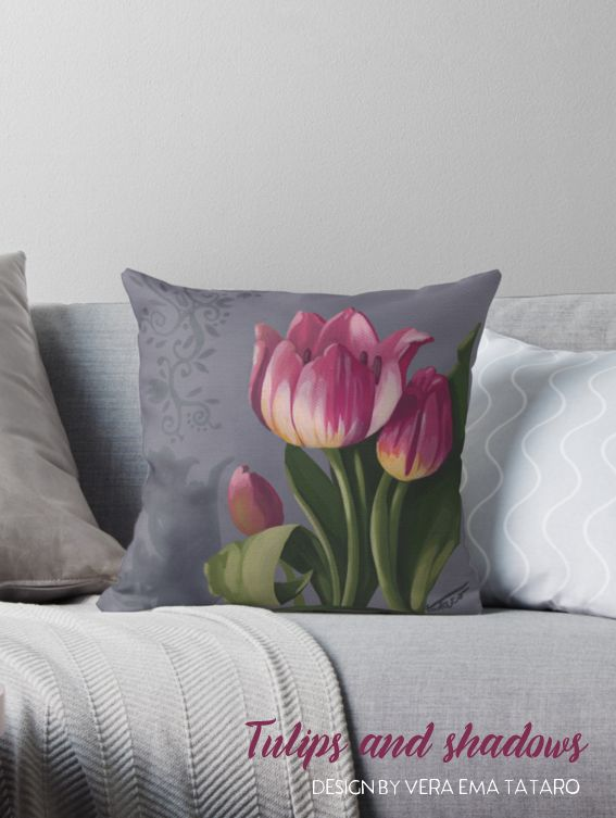 Tulips and Shadows - acrylic painting by vera ema tataro, design for pillow