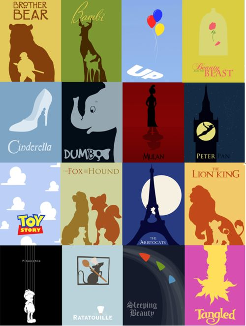 Minimalist posters for Disney movies