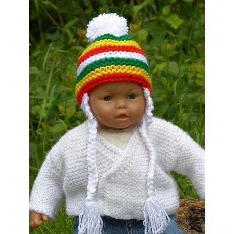 4f66aec06540 Adorable petit bonnet péruvien rasta avec rayures pour bébé en laine  acrylique douce et chaude tricoté