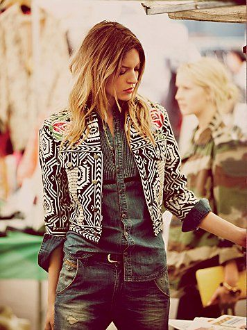 Breaking the Denim w/ Denim rule: denim Button-down Shirt tucked into Belted torn Jeans, with Bolero/Bohemian Jacket