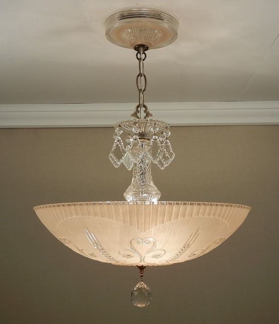 Large 16 antique 1930s vintage art nouveau all glass soft peach ceiling light fixture chandelier rewired