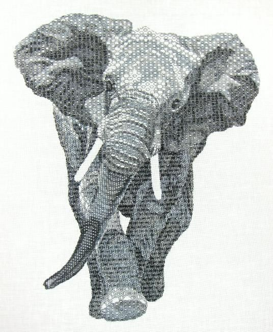 Blackwork elephant advanced hand embroidery