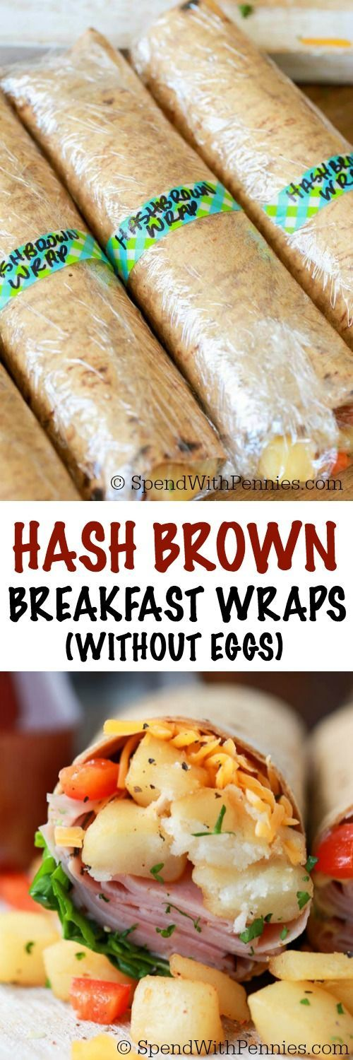 Ham & Hash Brown Breakfast Wraps (without eggs) are the perfect breakfast on…
