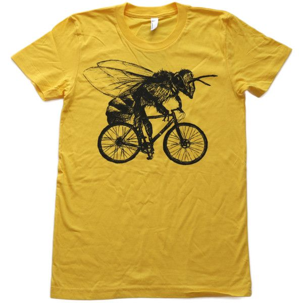 Bee on a Bicycle Sunshine Yellow T-Shirt ($24) ❤ liked on Polyvore featuring tops, t-shirts, silver, women's clothing, yellow checkered shirt, honey bee tees, tee-shirt, print shirts and brown t shirt
