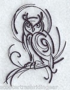 Black Tribal Owl Tattoo Design