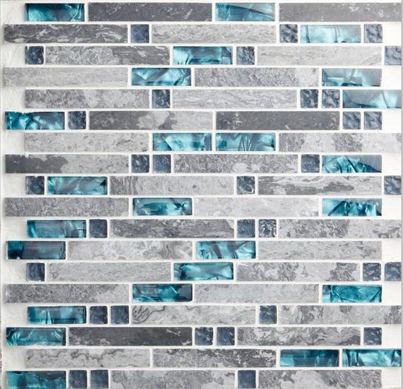 Gray Marble Backsplash Wall Tiles Teal Blue Glass Bathroom Etsy Mosaic Backsplash Kitchen Glass Mosaic Tile Kitchen Mosaic Tile Kitchen