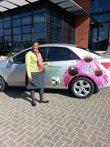 Mpho loves her branded car!