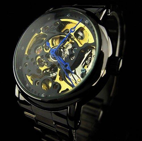 Black Mechanical Skeleton Men's Wrist Watch, Open Movement | odonatum - Jewelry on ArtFire