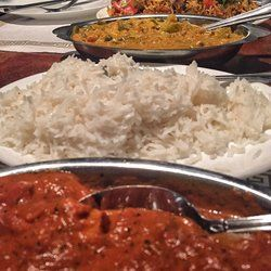 Sitar Indian Restaurant - Birmingham, AL, United States. In order: chicken tikka masala, rice, vegetables korma, lamb biryani